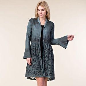 Jade Teal Long Faux Suede Jacket Lace Bell Sleeves